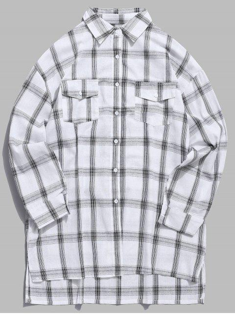 Chemise à Tartan avec Poches Poitrine à Rabat - Blanc 2XL Mobile