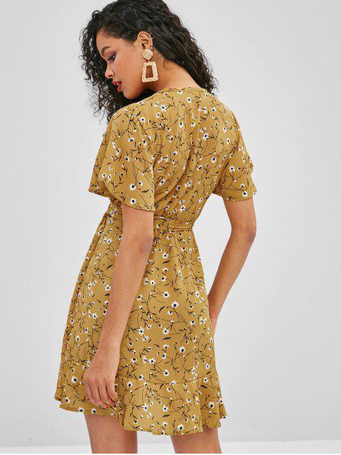ZAFUL Robe Enveloppée Ceinturée à Volants - Jaune d'Abeille S Mobile