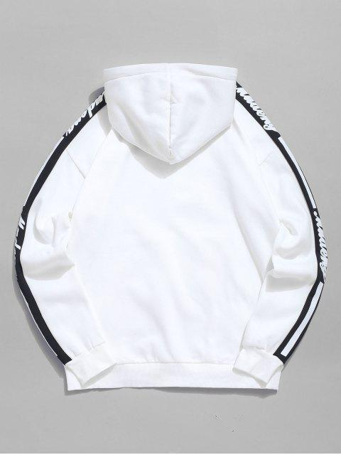 lady Contrast Letter Pocket Fleece Hoodie - WHITE 2XL Mobile
