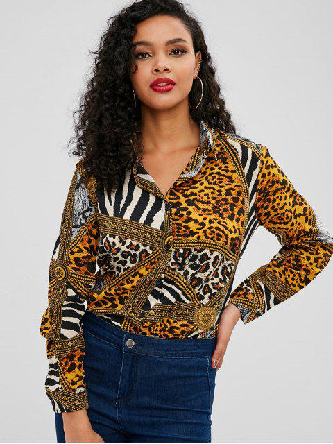 online Buttoned Leopard Print Long Sleeve Shirt - LEOPARD L Mobile