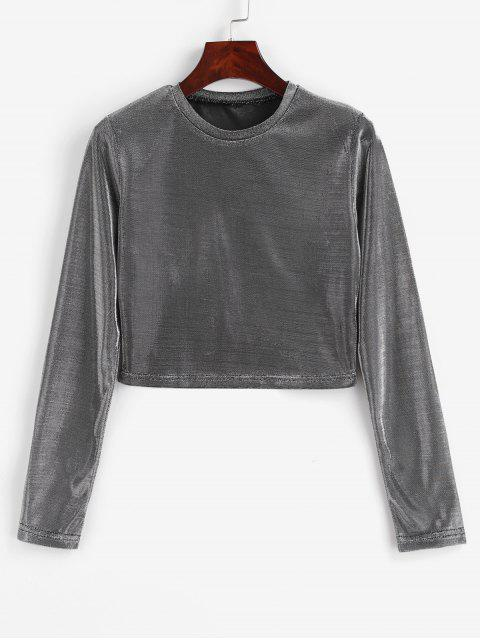 buy Long Sleeve Metallic Party Crop Top - SILVER M Mobile