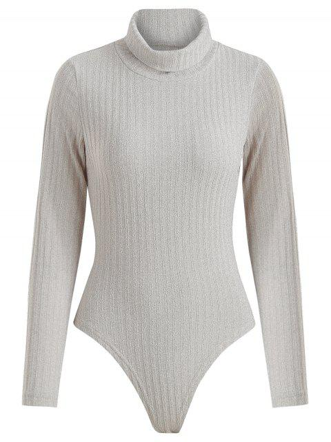 chic Ribbed Turtleneck Snap Crotch Bodysuit - GRAY GOOSE M Mobile