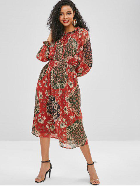 new Ruffles Pleated Printed A Line Dress - RED S Mobile