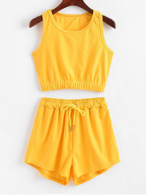 hot ZAFUL Sporty Racerback Top And Shorts Set - YELLOW L Mobile