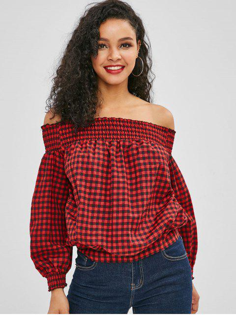 fashion Off Shoulder Tied Back Plaid Blouse - RED M Mobile