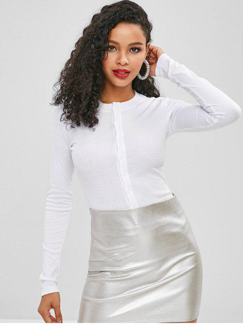 fancy Snap Crotch Long Sleeve Ribbed Bodysuit - WHITE M Mobile