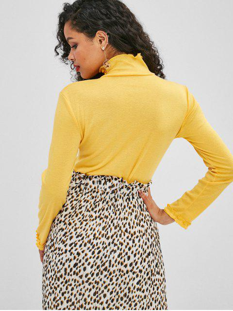 outfit High Neck Long Sleeve Frilled Tee - YELLOW L Mobile
