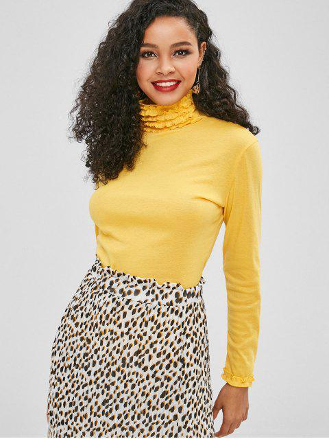 chic High Neck Long Sleeve Frilled Tee - YELLOW XL Mobile