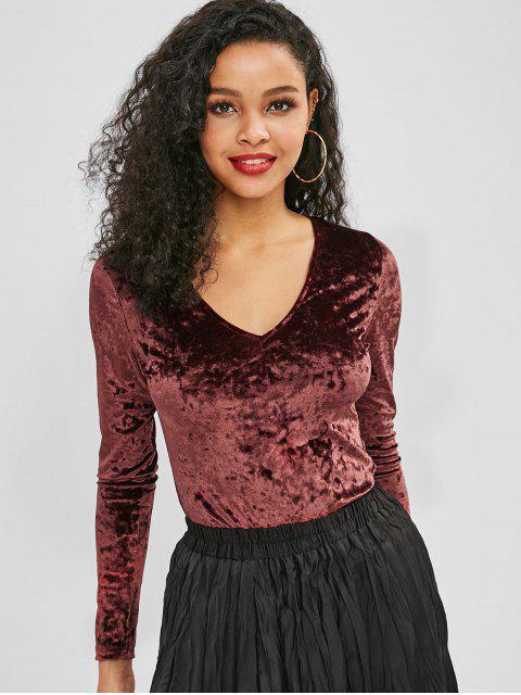 new Velvet V Neck Long Sleeve Bodysuit - RED WINE L Mobile