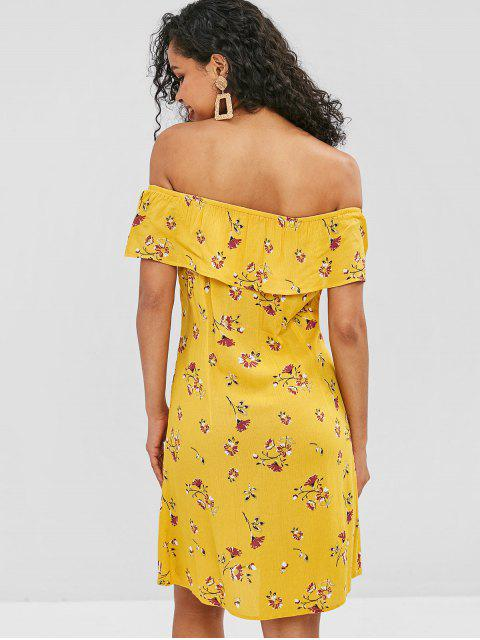 fashion ZAFUL Floral Button Up Off Shoulder Dress - YELLOW S Mobile