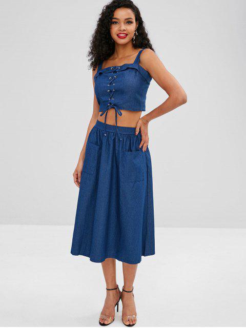 shops Lace Up Pocket Chambray Skirt Set - DEEP BLUE S Mobile