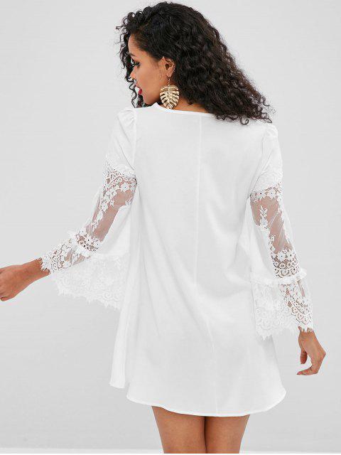 Mini-robe à empiècements en dentelle à manches évasées - Blanc M Mobile