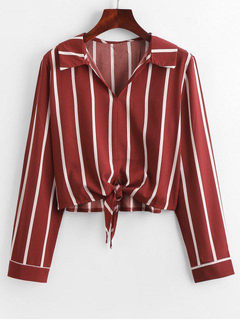 fancy Self-tie Stripe Blouse - RED L Mobile