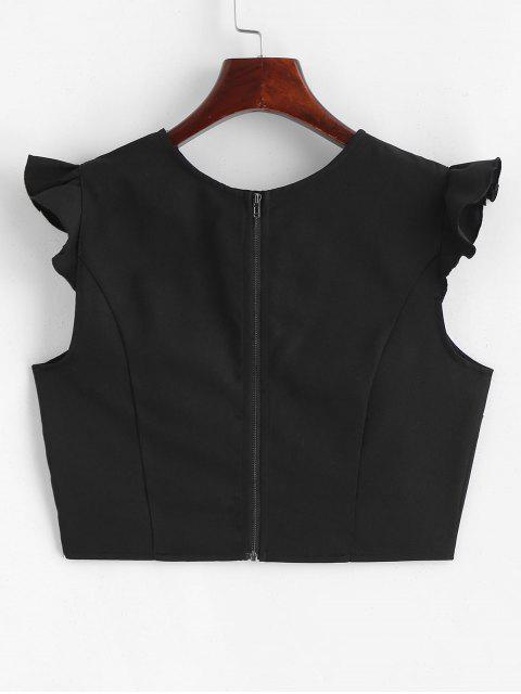 women Ruffles Crop Top - BLACK L Mobile