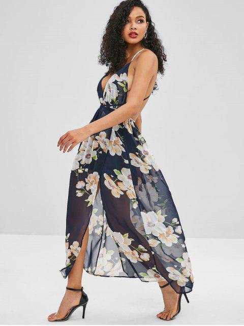 women Backless Slit Floral Maxi Dress - MIDNIGHT BLUE S Mobile