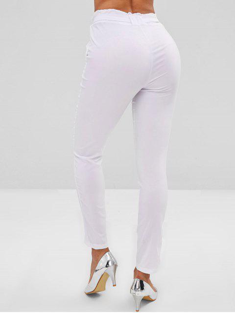 Bolsillos rectos pantalones de talle alto - Blanco L Mobile
