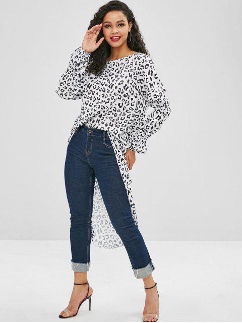 latest High Low Leopard Long Blouse - WHITE S Mobile