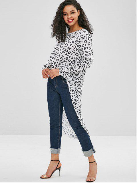 fancy High Low Leopard Long Blouse - WHITE M Mobile