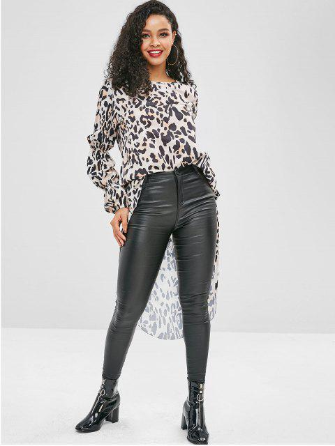 lady High Low Leopard Long Blouse - LIGHT KHAKI L Mobile