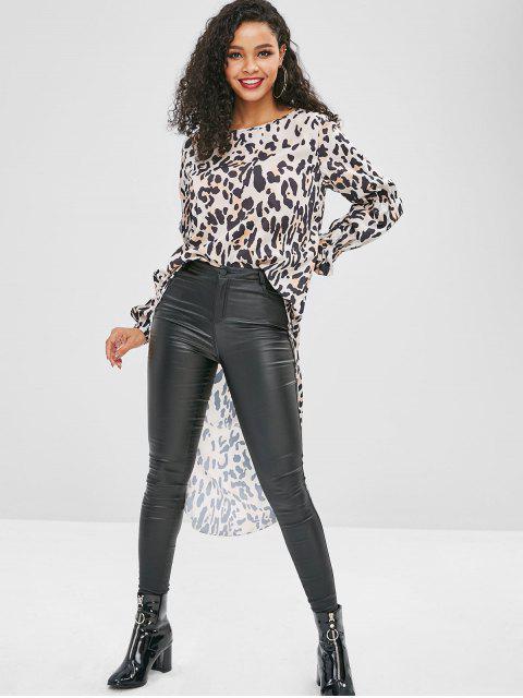 ladies High Low Leopard Long Blouse - LIGHT KHAKI M Mobile