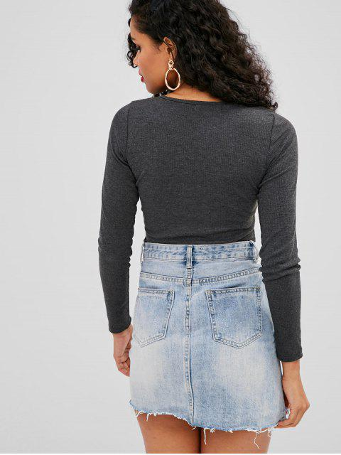 online Lace-up Ribbed Top - GRAY L Mobile
