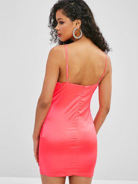Cami Glänzendes Bodycon Partykleid - Wassermelonen Rosa L Mobile