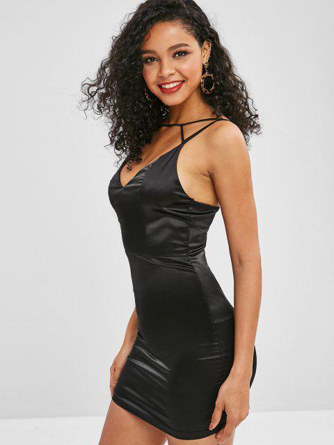 shop Cami Shiny Bodycon Party Dress - BLACK M Mobile