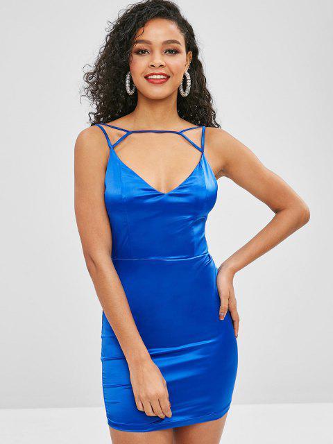 Robe de Soirée Moulante Brillante à Bretelle - Bleu Cobalt L Mobile