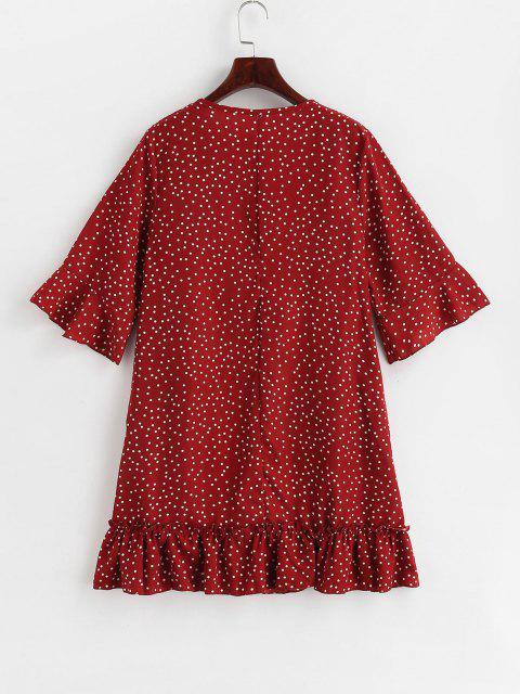 Mini Rüschenkleid mit Tupfen - Rot M Mobile