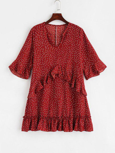 ladies Mini Polka Dot Ruffled Dress - RED S Mobile