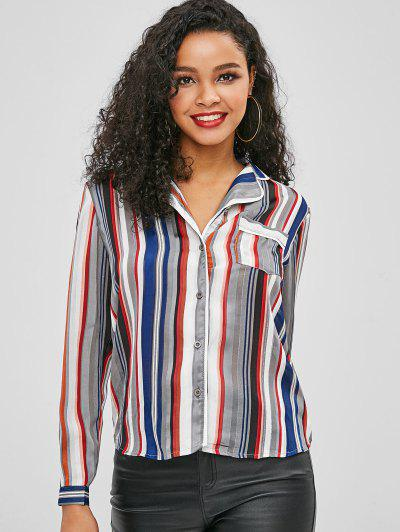 Front Pocket Lapel Striped Shirt