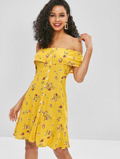 ZAFUL Floral Button Up Off Shoulder Dress - Yellow S