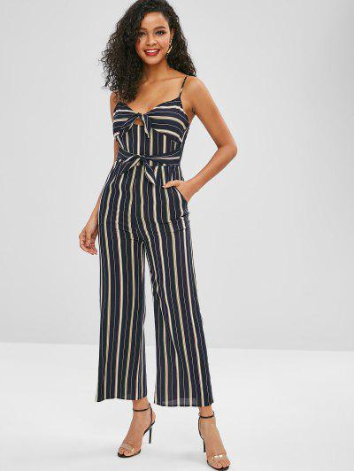 Knot Striped Wide Leg Jumpsuit