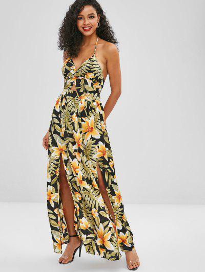 91db95ac6be Twist Front Floral Print Halter Maxi Dress - Yellow M ...