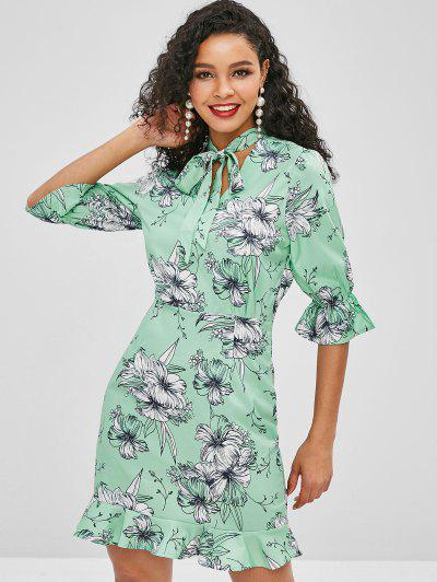 72642574a5 Flower Tie Neck Bell Sleeve Dress - Green L ...
