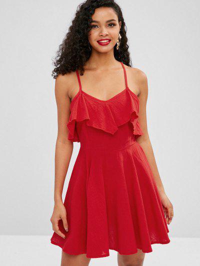 Flounce Tie Cami Dress - Vermelho M