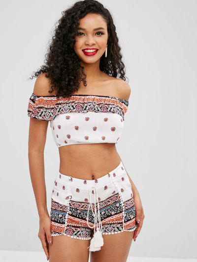 Ethnic Off Shoulder Flounce Shorts Set - White L