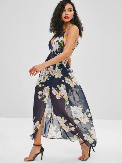 b1a85a7e08b ... Backless Slit Floral Maxi Dress - Midnight Blue S