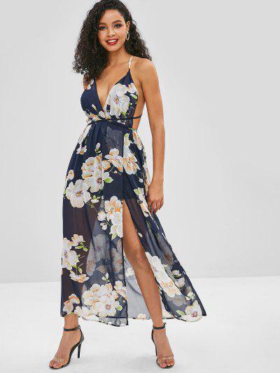 d851df1f309d Backless Slit Floral Maxi Dress - Midnight Blue M ...