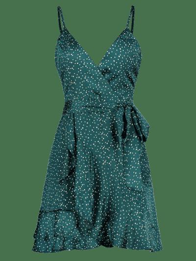 Polka Dot Cami Ruffle Dress, Greenish blue