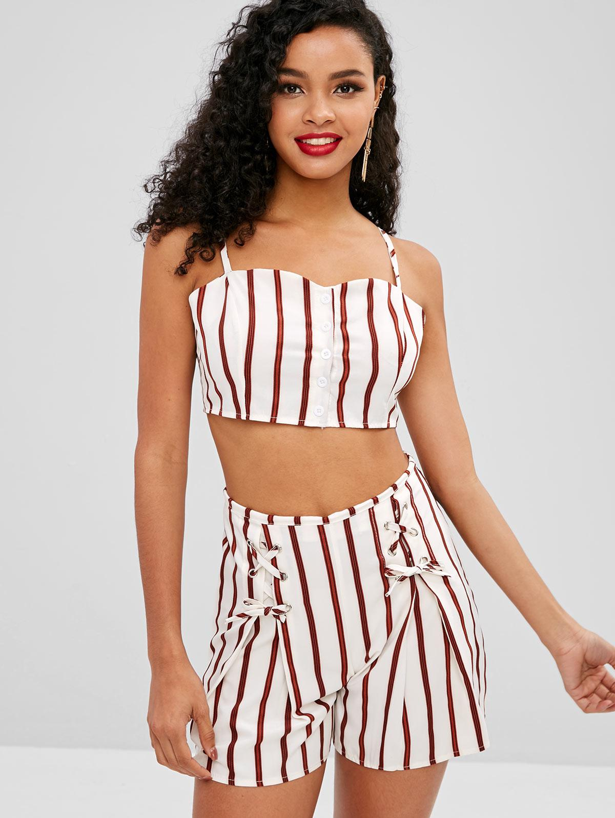 Buttoned Cami Top and Shorts Two Piece Set