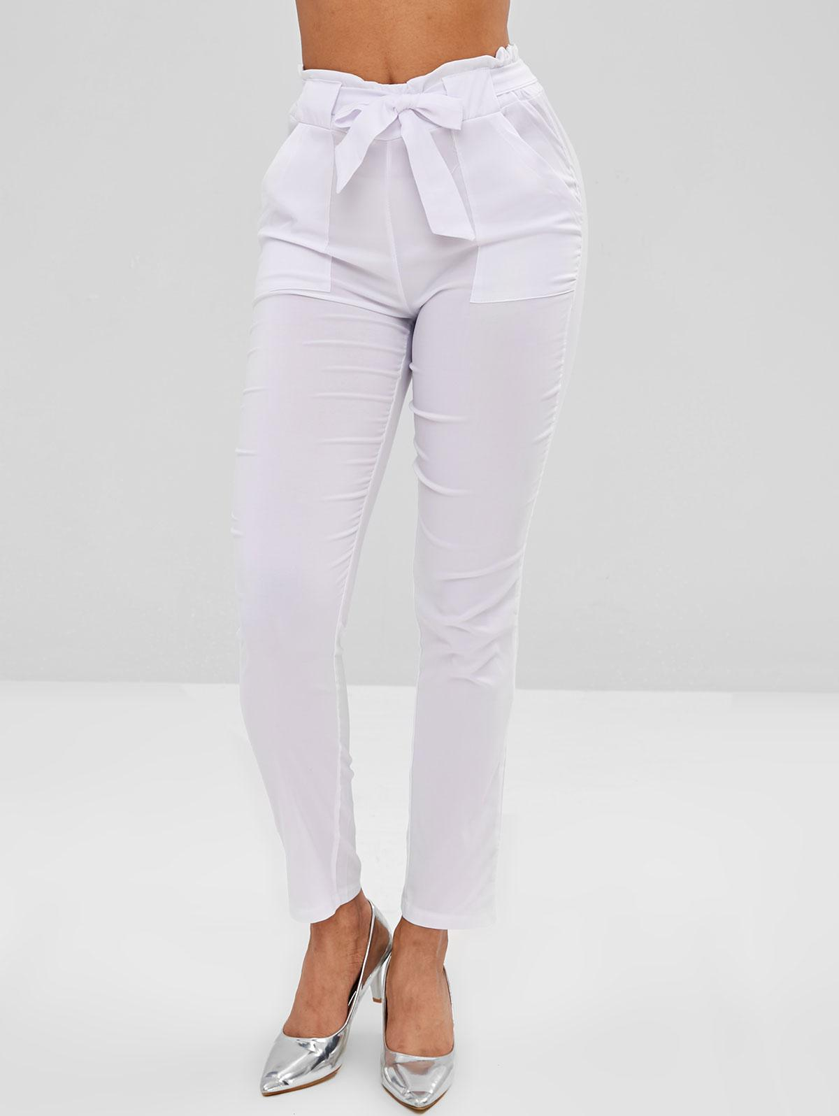 Pockets Straight High Waisted Pants, White