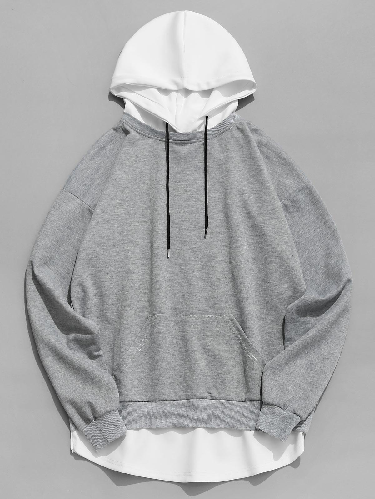 Contrast Hem Drawstring Hooded Sweatshirt