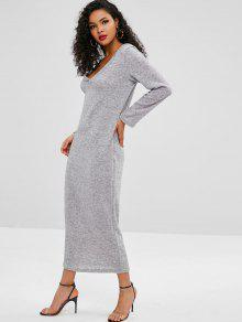 354d34af5e6 48% OFF] 2019 Knitted Long Sleeve Maxi Dress In LIGHT GRAY | ZAFUL ...