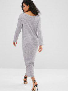 bb74a86daed 48% OFF] 2019 Knitted Long Sleeve Maxi Dress In LIGHT GRAY | ZAFUL