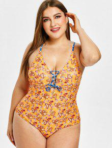 bd122994780ca 2019 ZAFUL Ethnic Lace Up Backless Plus Size Swimsuit In SANDY BROWN ...