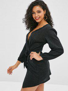 5eea6a8212cc 48% OFF  2019 Metallic Thread Long Sleeve Wrap Dress In BLACK