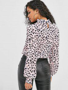 381158caaa77cc 39% OFF] 2019 Leopard High Neck Pullover Blouse In PINK | ZAFUL