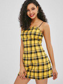 de2220c4f15 29% OFF  2019 ZAFUL Back Zipper Plaid Cami Dress In BRIGHT YELLOW ...