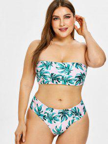 ZAFUL Tropical Leaf Bandeau Plus Size Bikini Set - زهري L